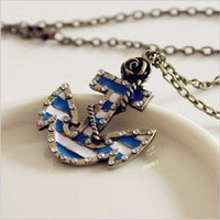 Amazon.com: Fashion Vintage Bronze Chain Anchor Shape Pendant Long Chain Necklace Clothes: Home & Kitchen