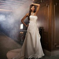 A-line Strapless Simple Hawaiian Wedding Dresses Satin Floor Length HS-S-2619