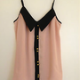 NWT ASOS Pink &amp; Black Button Cami Top Blouse w/Collar 6 S-M UK 10