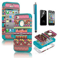 Stylus + For iPhone 4 4S Hybrid High Impact Case Tribal Pink / Blue Silicone