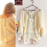 Fur Lace Crochet Bow Back Knitting Furry Sweater Dress C15 xs s UK 6 8
