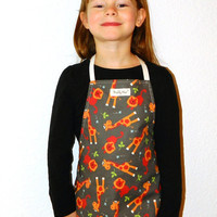 Animal Print Kid Aprons Craft Apron Lion Giraffe Boy Toddler Reversible Gift