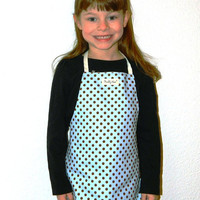 Kid Aprons Polka Dots Blue Brown Gender Neutral Apron Birthday Gift
