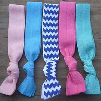 5 Hair Ties Emi Jay Style Foldover Elastic Chevron BluePink StockingStuffer