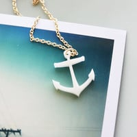 Anchor Necklace Nautical Style Gold and White by iluxo on Etsy