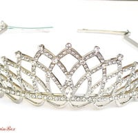 Bridal Headband with White Swarovski Crystals