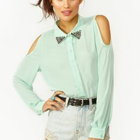 Studded Cutout Blouse - Mint