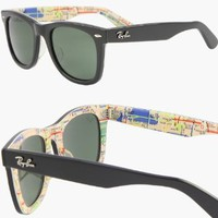 Amazon.com: RAY BAN WAYFARER RARE PRINTS NYC METRO Sunglasses - RB2140 1028 (50mm): Clothing