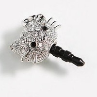 Crystal Hello Kitty Earphone Jack / Dust Plug for Apple Iphone 4, 4s