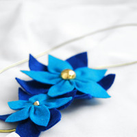 Felt flower headband - Turquoise and navy blue elastic headband,womens headband,spring flowers.