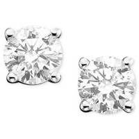 Diamond Earrings, 14k White Gold Diamond Stud Earrings (3/8 ct. t.w.) - Diamonds - Jewelry &amp; Watches - Macy&#x27;s
