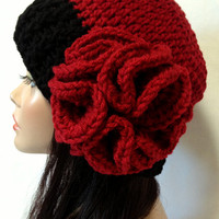 Red and Black Crochet Hat