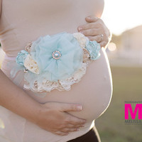 Blue Maternity Sash Maternity Photo Prop. Maternity Belt. Pregnancy Photo Prop.