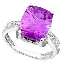14k White Gold Ring, Amethyst (5-1/6 ct. t.w.) and Diamond Accent - Rings - Jewelry &amp; Watches - Macy&#x27;s