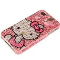 Amazon.com: Hello Kitty iPhone 4S and 4 Sanrio Cute Pink Diamond Heart Crystal Rhinestone Jewelry Cover Snap On Case for Newest Apple iPhones - Pink: Cell Phones & Accessories