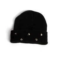 Foldover Knit Stud Beanie