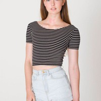 American Apparel - Stripe Cotton Spandex Jersey Crop Tee