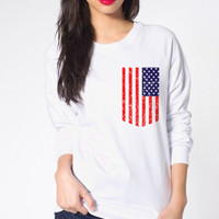American Pocket Printed on American Apparel Womens Sweatshirt