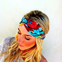 Tribal Headband Aqua and Burnt Orange Shades Chiffon Thinner Style Head Wrap Hair Band Aztec Stretchy Headband