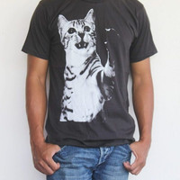 Cat T-shirt ,Men T-Shirt,Women T-shirt Unisex T-shirt  Cat Screenprinted  Available In Size S, M.