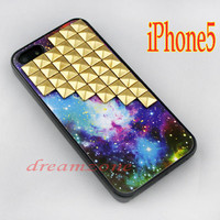 Golden studded iPhone 5 case, Gold pyramid studs iPhone 5 cases, hard plastic case,Fox Fur Nebula studded case