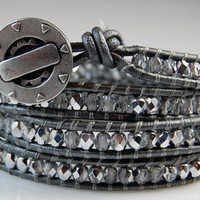 Chan Luu Style Wrap Bracelet - Silver Fire Polished Crystals - Steampunk Button - Metallic Grey Leather - Ready to Ship