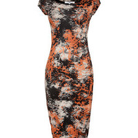 Orange Tie Dye Cap Sleeve Midi Dress