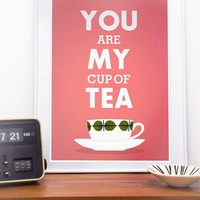 Kitchen Tea print, love quote art, pink decor, retro design, stig lindberg - You are my cup of tea A4 or 8x10