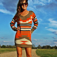 Aztec Sweater Dress  Wild Bleu Boutique