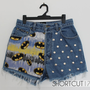 Vintage BATMAN Comic / The Dark Knight High Waisted Distressed and Studded Cut Off Denim Shorts, Forever a Fan Collection, S/M