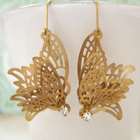 Butterfly In Motion, vintage inspired  brass butterfly charm earrings