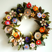 $68.00 Wreath  Autumn Fall Paper Flowers by FlightyFleurs on Etsy