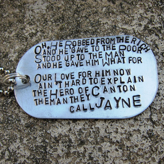 Firefly Quote  Jayne's Song  Hand Stamped by DesignByAnyOtherName