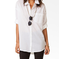 Oversized Button Tab Shirt