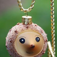 PLUMP & GLITTERY GOLD HEDGEHOG Blown Glass Hand-Painted Ornament