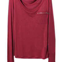 ROMWE | Zippered Pocket Scoop Neck Red T-shirt, The Latest Street Fashion