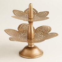 Gold Punched Tiered Metal Dish Jewelry Stand