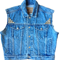 Cropped Studded Denim Vest