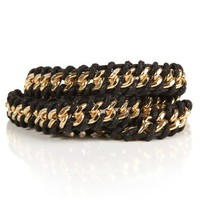 Gold Chain And Rope Wrap Bracelet