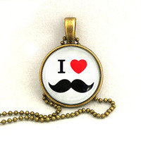 10% SALE Necklace I Heart Love Mustache Art Pendant Necklaces Gift