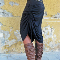 Special long skirt, adjustable skirt, black maxi skirt,  made to order