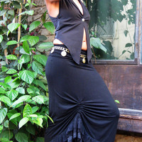 Black Maxi Skirt, Gypsy Maxi Skirt, Flamenco Skirt, Goddess Skirt, Laced Skirt
