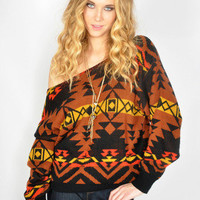 Vtg 80s Black SOUTHWESTERN NAVAJO Slouchy KNIT Jumper Sweater Top XS-M