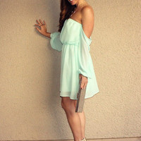 Off Shoulder 'Pixie' Dress (Mint)