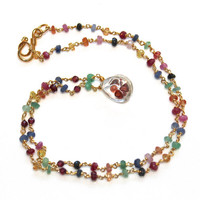 "Rock Crystal Red Garnet Shaker Necklace Sapphire Ruby Emerald Gold Vermeil Pendant Necklace 17"" Handcrafted Gemstone Jewelry"