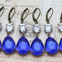 Blue Sapphire Wedding Jewelry Bridesmaids Earrings 4 Pairs  Crystal Vintage September Clip On Available