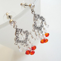 Orange Australian Swarovski Dangle Earstud Earrings/ Orange Crystal Silver Chandelier/Tangarine Tango