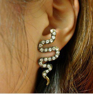 Enchanting Clear Rhinestone Snake Stud Earrings