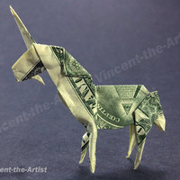 Dollar Bill Origami UNICORN - Great Gift - Mythical Animal Creature Made of Money