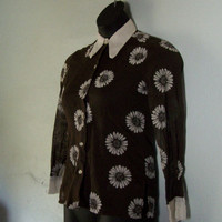 Vintage Brown Sheer Shirt with White Daisies